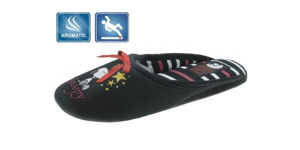 Dámske čierne domáce papuče Beppi s vôňou a potlačou