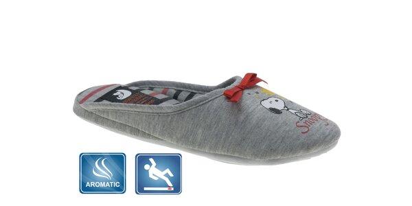 Dámske šedé domáce papuče Beppi s vôňou a potlačou