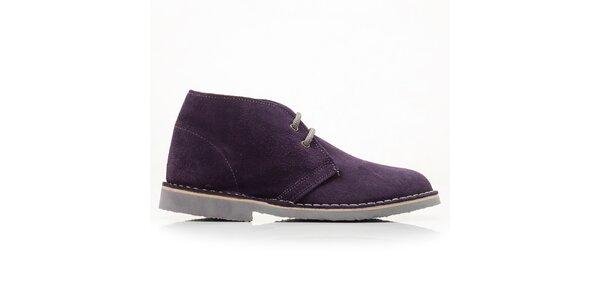 Dámske fialové členkové topánky so šnúrkami Roamers