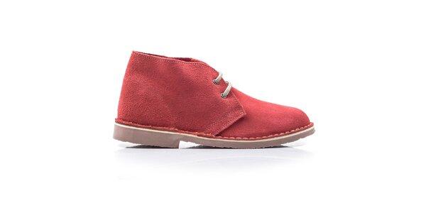Dámske červené členkové topánky so šnúrkami Roamers
