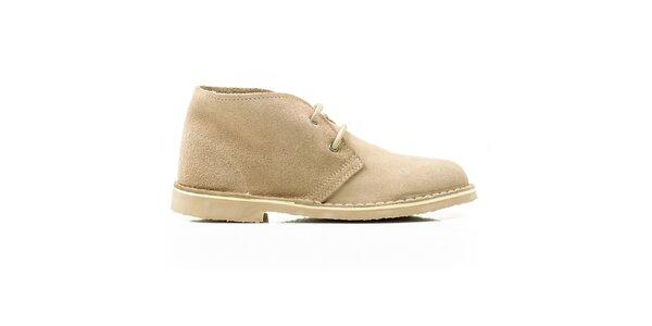 Dámske béžové členkové topánky so šnúrkami Roamers