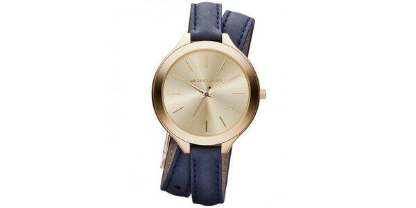 Dámske analógové hodinky s modrým koženým remienkom Michael Kors