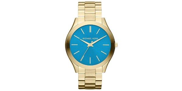Dámske pozlátené oceľové hodinky s modrým ciferníkom Michael Kors