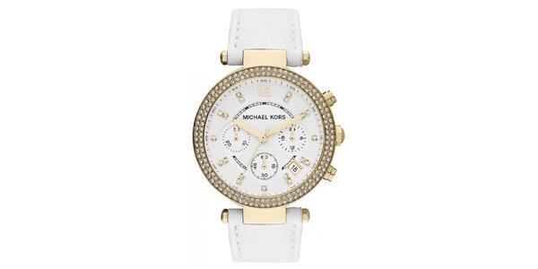Dámske hodinky s bielym koženým remienkom Michael Kors