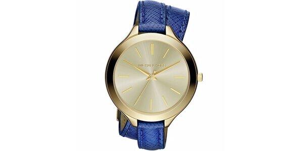 Dámske pozlátené hodinky s modrým remienkom Michael Kors