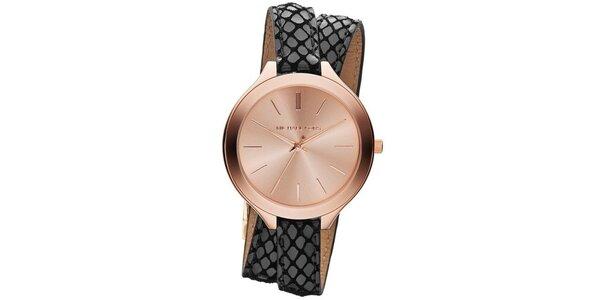 Dámske hodinky s šedo-čiernym dvojitým remienkom Michael Kors
