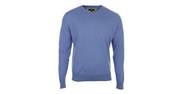 Pánsky modrý sveter s véčkovým výstrihom Loram