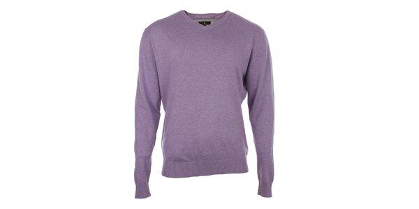 Pánsky fialový sveter s véčkovým výstrihom Loram