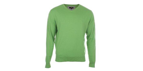 Pánsky zelený sveter s véčkovým výstrihom Loram