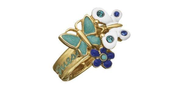 Guess prsteň s modrými a bielymi motýlikmi