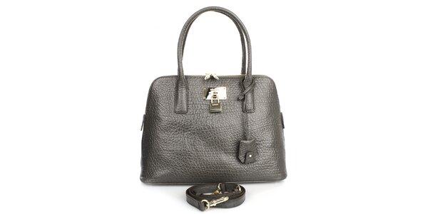 Dámska kožená kabelka v tmavo šedom odtieni DKNY