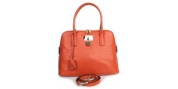 Dámska kožená kabelka v oranžovom odtieni DKNY