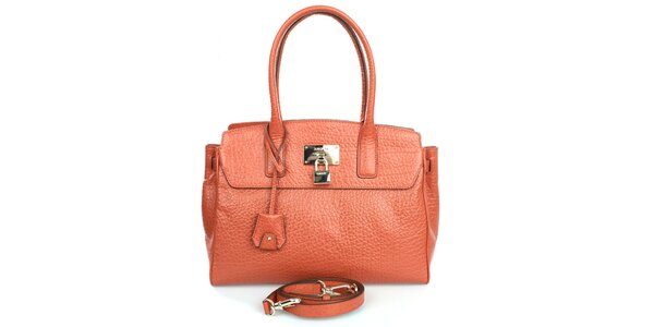Dámska oranžová kabelka s hrubým povrchom DKNY