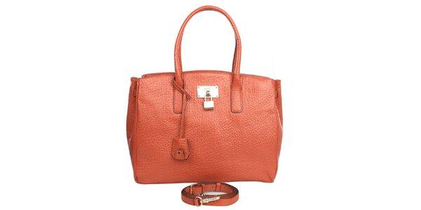 Dámska oranžová kabelka s hrubou štruktúrou DKNY