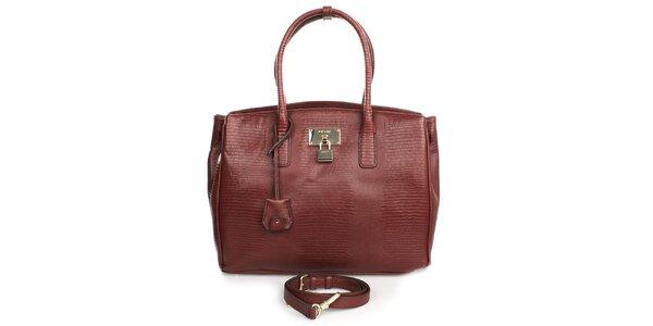 Dámska priestranná kožená kabelka vo vínovom odtieni DKNY