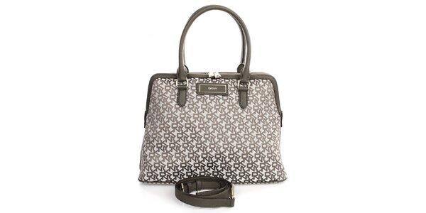 Dámska kabelka s nápismi v khaki odtieni DKNY