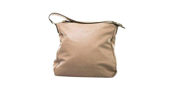 Dámska béžová kabelka s ozdobnými cvočkami Sisley