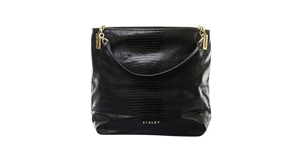 Dámska čierna kabelka s pruhovanou zadnou stranou Sisley