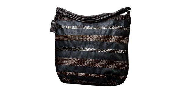 Dámska čierna kabelka s kontrastným prešívaním Sisley