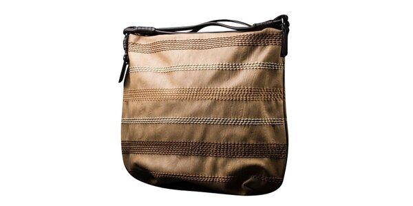 Dámska hnedobéžová kabelka s kontrastným prešívaním Sisley