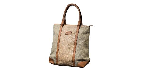 Dámska svetlo béžová kabelka s hnedými prvkami Sisley