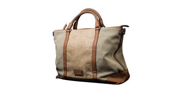 Dámska svetlo béžová obdĺžniková kabelka s hnedými prvkami Sisley