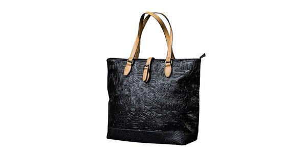 Dámska čierna kabelka s kontrastnými pútkami Sisley
