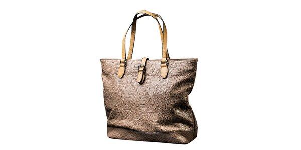Dámska svetlo béžová kabelka s kontrastnými pútkami Sisley