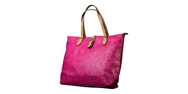 Dámska ružová kabelka s kontrastnými pútkami Sisley