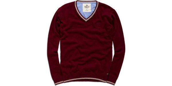 Pánsky vínový sveter s véčkovým výstrihom Timeout