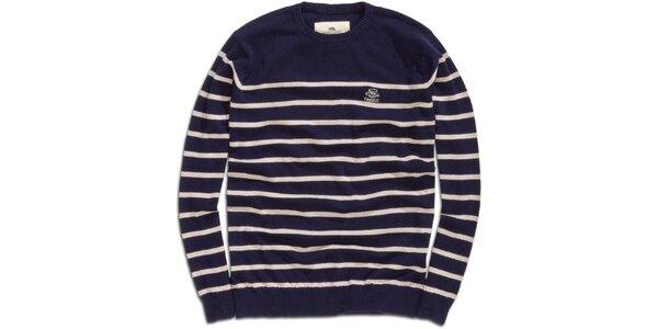 Pánsky tmavomodrý sveter s prúžkami Timeout