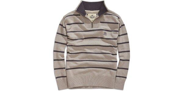 Pánsky šedý pruhovaný sveter s rolákom Timeout