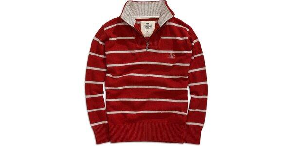 Pánsky červený pruhovaný sveter s rolákom Timeout