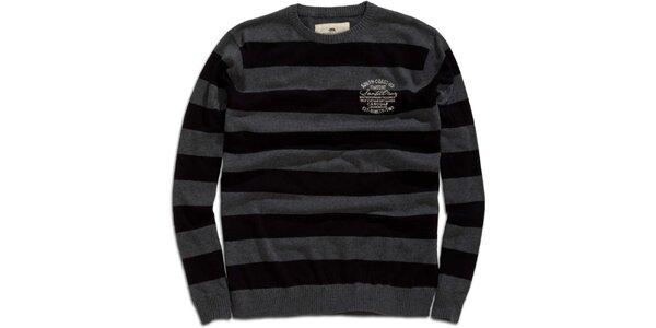 Pánsky šedo-čierny pruhovaný sveter Timeout