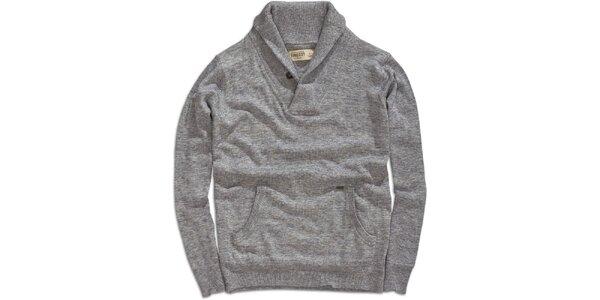 Pánsky šedý sveter s klokaním vreckom Timeout