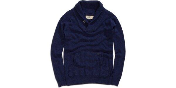 Pánsky modrý sveter s klokaním vreckom Timeout