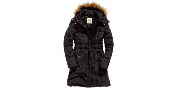 Dámsky čierny kabát s kapucňou Timeout