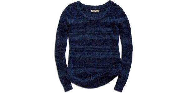 Dámsky modrý sveter s prúžkami Timeout