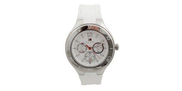Dámske analógové hodinky s bielym silikónovým remienok Tommy Hilfiger