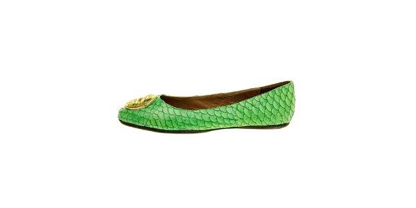 Dámske sýto zelené baleríny Hope so zlatou sponou a rybími šupinami