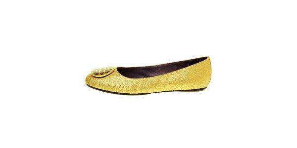 Dámske zlaté baleríny Hope so zlatou sponou
