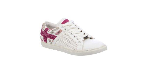 Dámske biele tenisky s ružovými prvkami Keddo