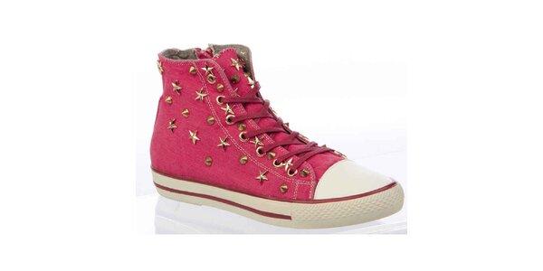 Dámske ružové členkové tenisky s hrotmi a hviezdičkami Keddo