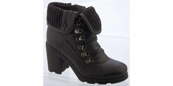 Dámske čierne členkové topánky s vlnenou podšívku Betsy