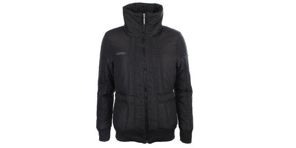 Dámska čierna zimná bunda s vysokým golierom Loap