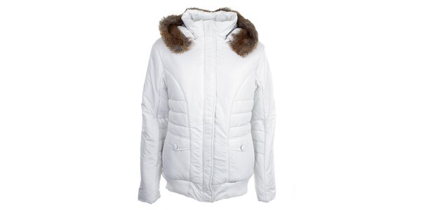 Dámska biela bunda s kapucňou Loap