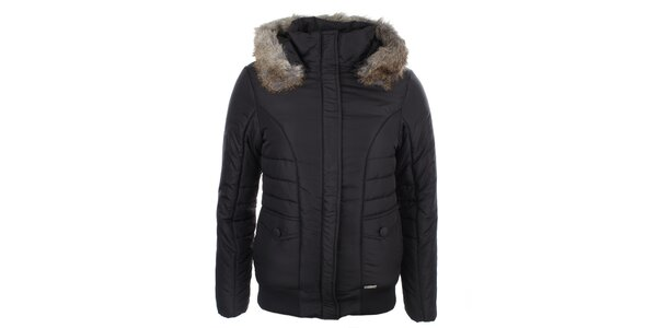 Dámska čierna bunda s kapucňou Loap