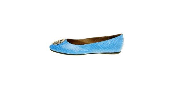 Dámske svetlo modré hadie baleríny Hope so striebornou sponou