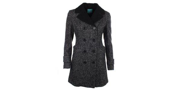 Dámsky kabát s čiernym golierom a gombíkmi Phard
