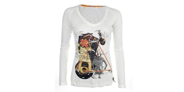 Dámske biele tričko s dlhým rukávom a potlačou Phard